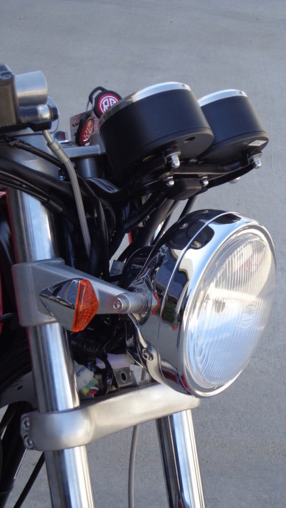 Cafe Racer Headlight Assembly : Chromed headlight assembly with halogen carpy s cafe