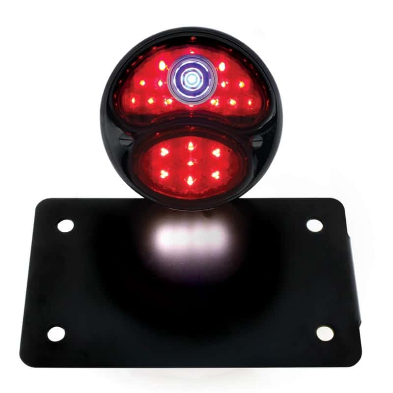Round Led License Plate Assembly Black Blue Dot on motorcycle led lighting