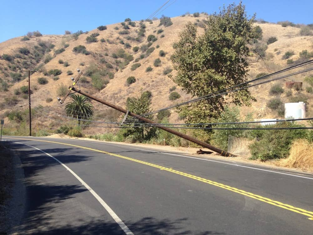 Downed power pole Carbon Canyon 15Sep13