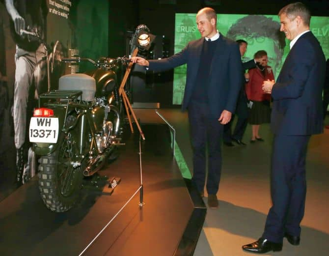 HINCKLEY, ENGLAND - FEBRUARY 20: Prince William, Duke of Cambridge visits the Triumph Motorcycles and MIRA Technology Park for a day that celebrates world-class British vehicular manufacture, research and development on February 20, 2018 in Hinckley, England. (Photo by Ian Vogler - WPA Pool/Getty Images)