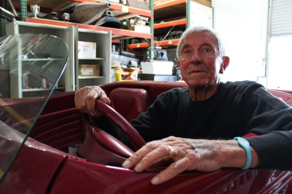 Stan Betz, 86, sits behind the wheel of his custom-built, Model 34 Ford hot rod.